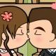 한쌍 연인 슬그머니 키스