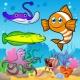 유아를위한 퍼즐 물고기와 바다와 수생 동물